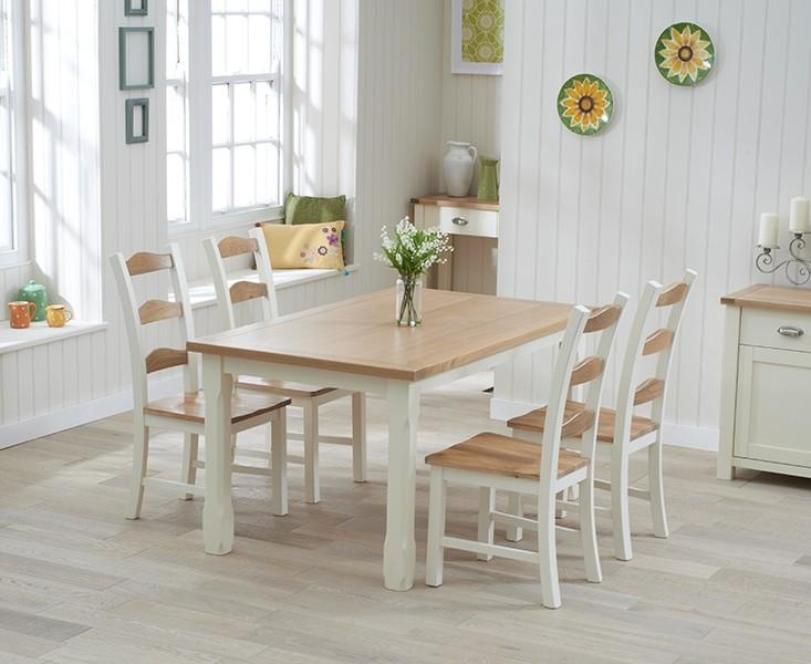Buy The Sandringham 130Cm Oak And Cream Dining Table With Chairs Regarding Cream And Wood Dining Tables (View 13 of 20)