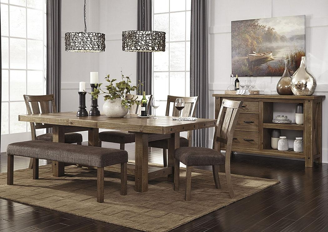 By The Room Furniture Tamilo Gray/brown Rectangular Dining Room With Regard To Dining Room Bench Sofas (Image 8 of 20)
