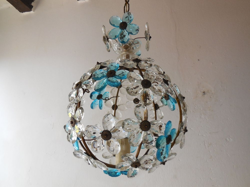 C 1920 French Maison Bagues Aqua Clear Crystal Prisms Flowers Ball Inside Turquoise Ball Chandeliers (Image 18 of 25)