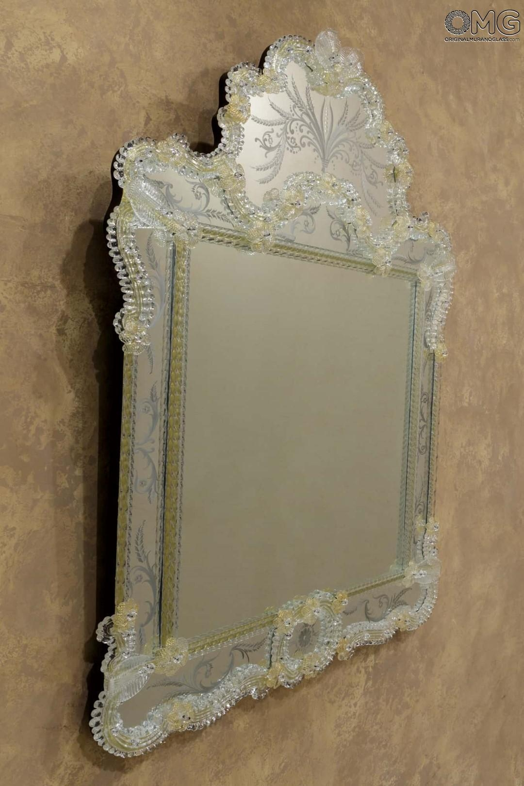Ca Zanardi – Wall Venetian Mirror – Murano Glass And Gold 24Carats Inside Venetian Glass Mirrors Sale (Image 4 of 20)