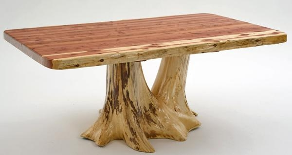 Cabin Furniture, Log Dining Table, Unique Stump Tree Base With Regard To Tree Dining Tables (Image 4 of 20)