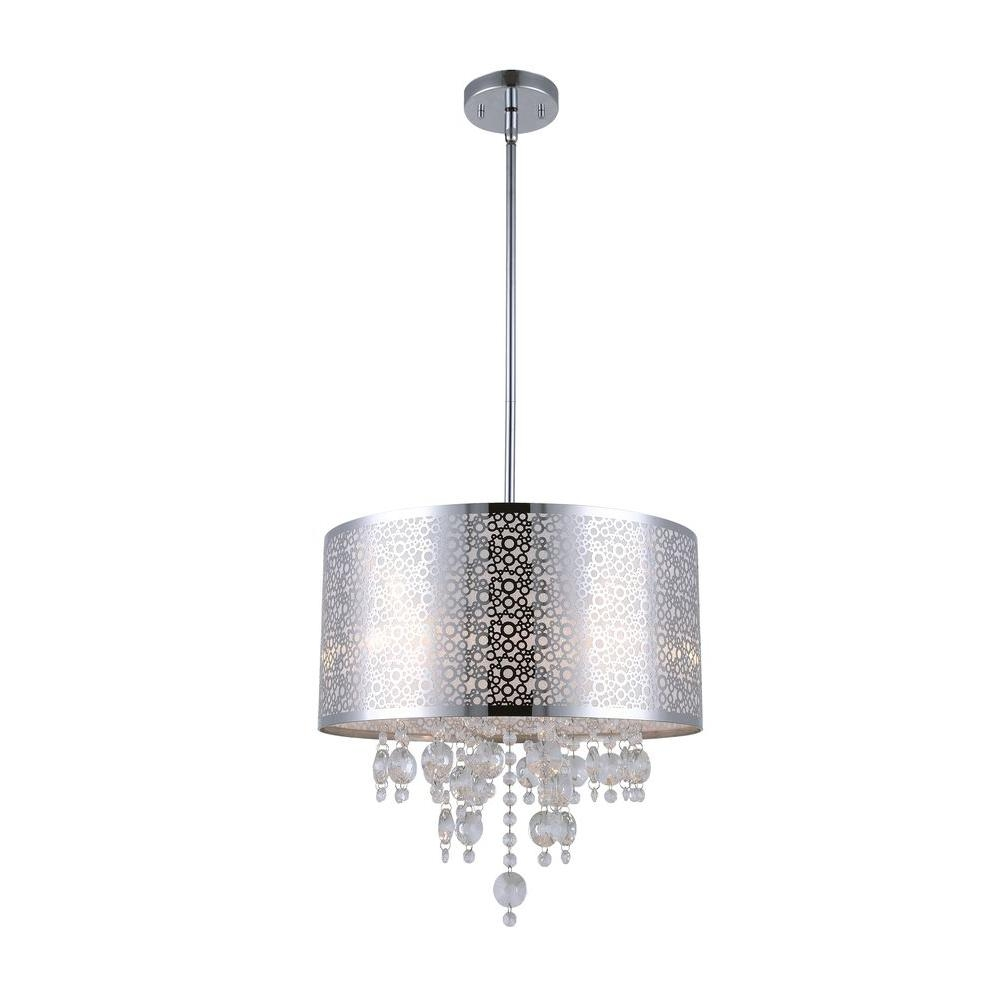 Canarm Piera 4 Light Chrome Chandelier With Crystal Drops Throughout 4 Light Chrome Crystal Chandeliers (Image 6 of 25)