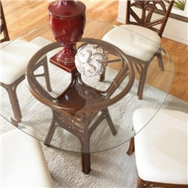 Cancun Palm Indoor Rattan & Wicker Round Dining Table In Tc Inside Wicker And Glass Dining Tables (Image 4 of 20)
