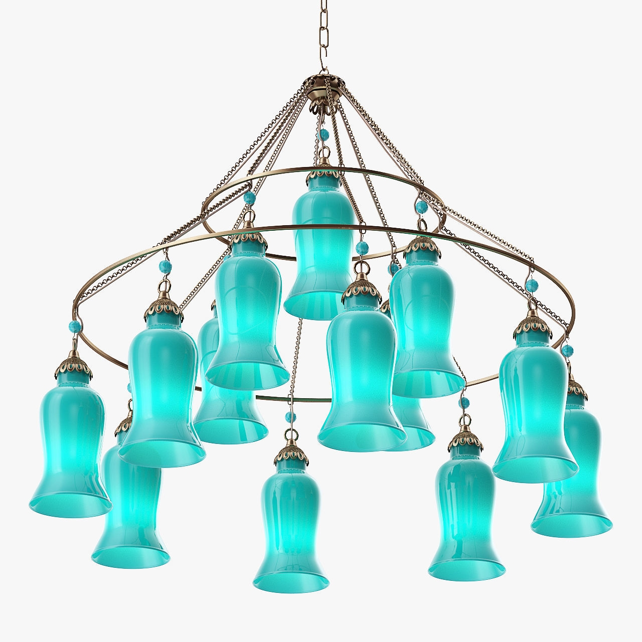 Canopy Designs Sara Glass Chandelier 3d Model Max Obj 3ds Fbx Mtl Intended For Turquoise Blue Glass Chandeliers (Image 5 of 25)