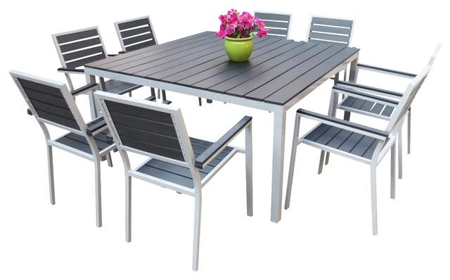 Cantina 9 Piece Outdoor Dining Set – Contemporary – Outdoor Dining Inside Outdoor Dining Table And Chairs Sets (Image 5 of 20)