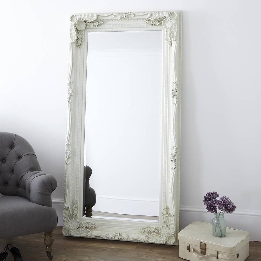 Carved Floor Standing Mirrorprimrose & Plum Within Cream Standing Mirror (Image 2 of 20)