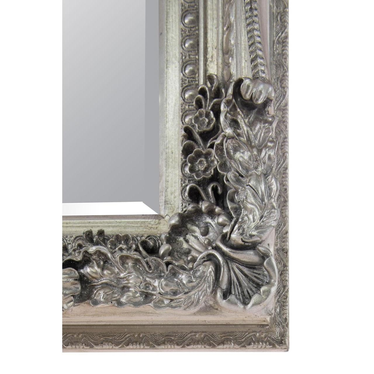 Carved Louise Large Silver Ornate Wall Mirror Intended For Silver Ornate Wall Mirror (Image 5 of 20)