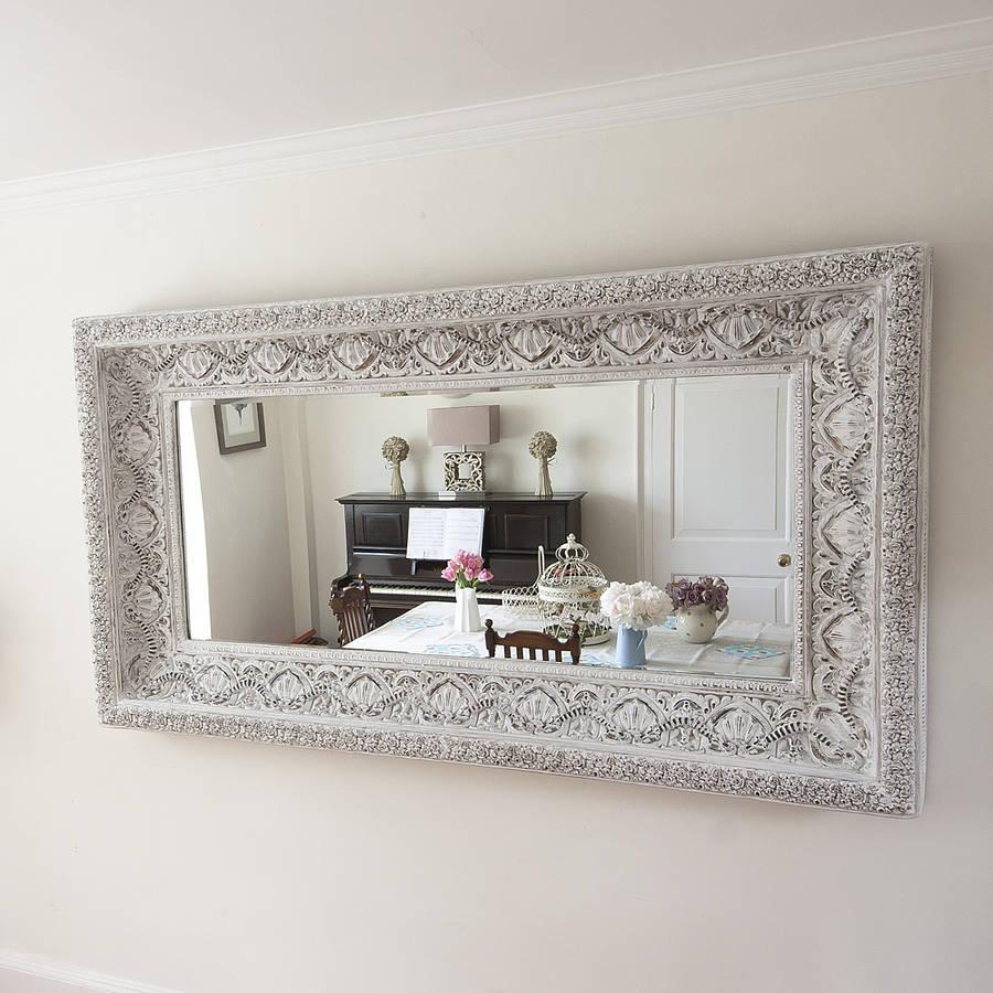 Carved White 'shabby Chic' Mirrordecorative Mirrors Online For Shabby Chic White Mirrors (Image 7 of 20)