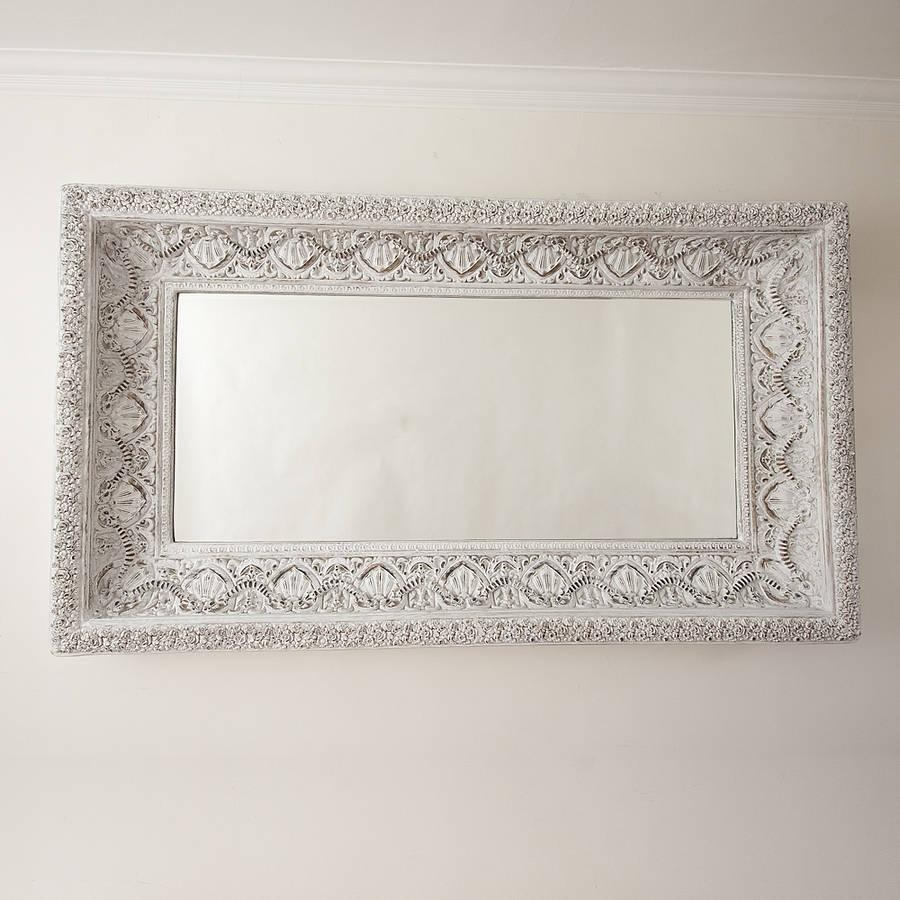 Carved White 'shabby Chic' Mirrordecorative Mirrors Online For White Decorative Mirrors (Image 5 of 20)