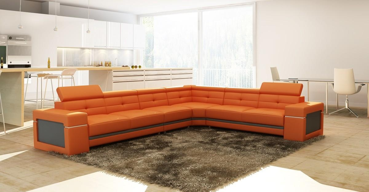 Casa 5072 Modern Orange And Grey Leather Sectional Sofa With Orange Modern Sofas (Image 2 of 20)