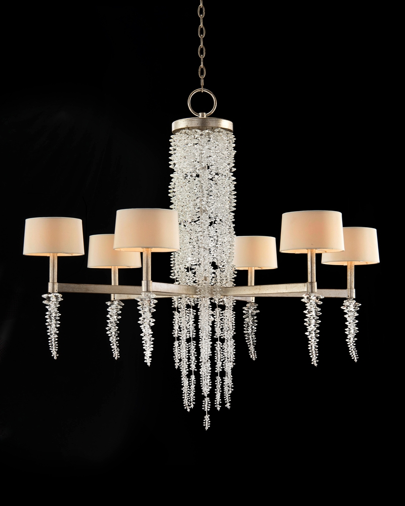 Cascading Crystal Waterfall Six Light Chandelier Chandeliers With Waterfall Chandeliers (Image 9 of 25)