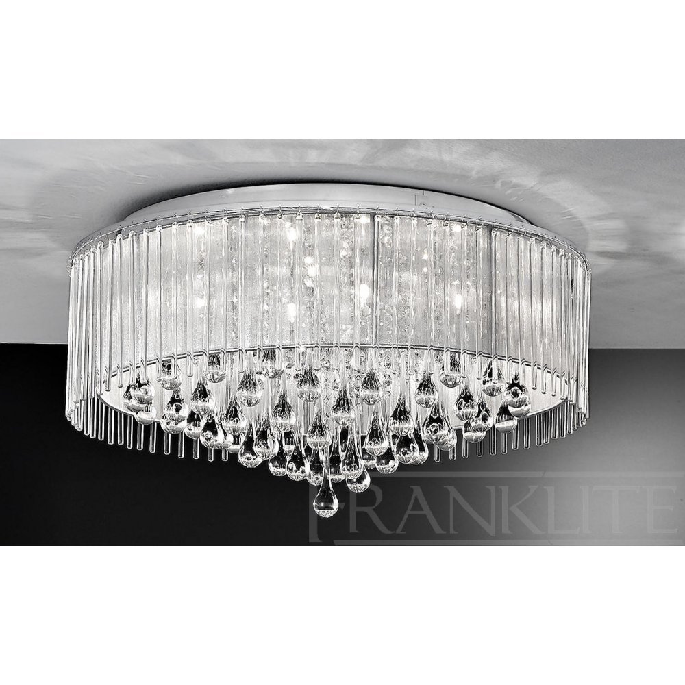 Ceiling Lighting Crystal Ceiling Lights Flush Mount Chandelier With Regard To Flush Chandelier Ceiling Lights (Image 7 of 25)