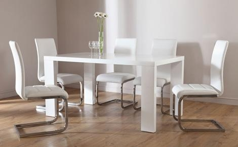Chaffee High Gloss Dining Table + Leather Steel Chairs – Pamelas Table For Gloss White Dining Tables (Image 3 of 20)