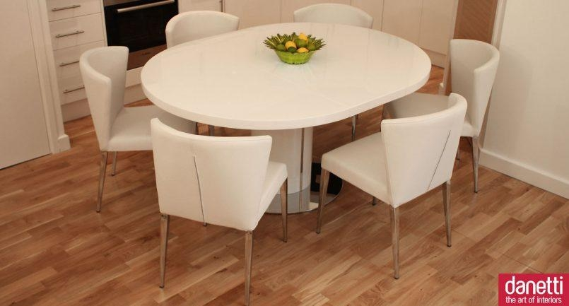 Chair Curva White Gloss Extending Dining Set Table Regarding Extended Dining Tables And Chairs (Image 4 of 20)