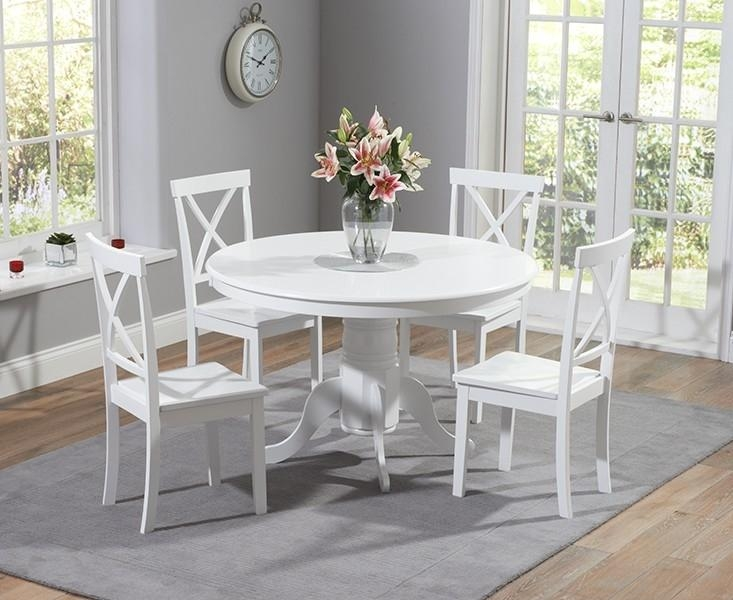 Chair Dining Table And Chairs White With Bench Oak Set Round Within White Circle Dining Tables (Image 8 of 20)