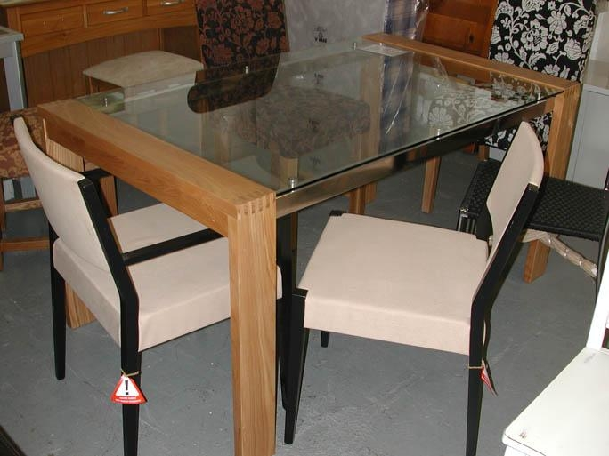 Chair Glass Dining Table And Chairs Clearance | Uotsh Throughout Glass Oak Dining Tables (Image 3 of 20)