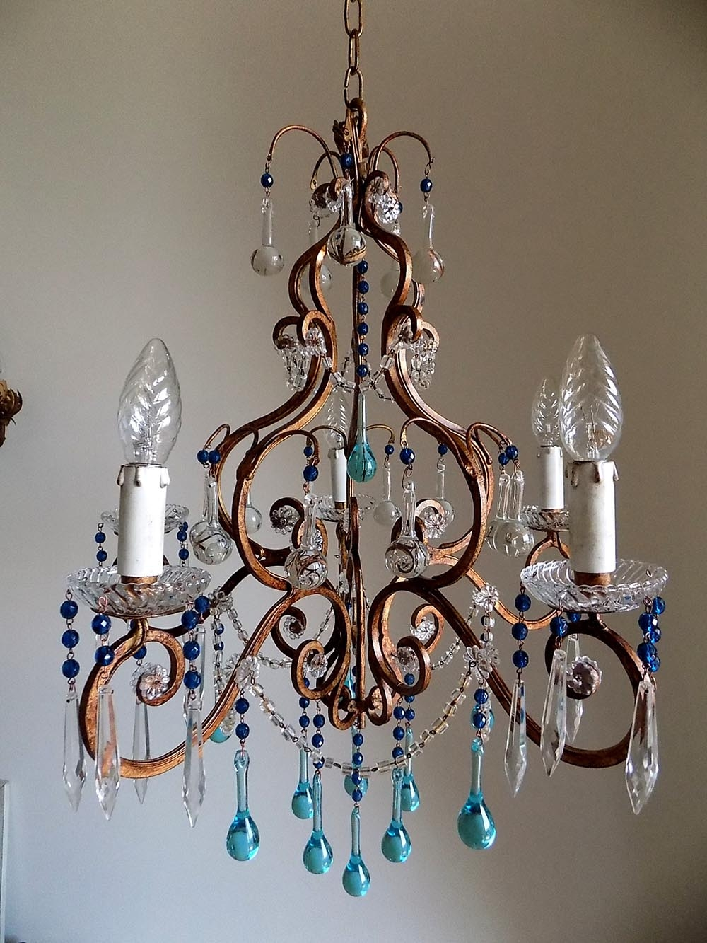 Chandelier Amusing Wrought Iron Crystal Chandelier Astounding Regarding Turquoise Chandelier Crystals (Image 10 of 25)