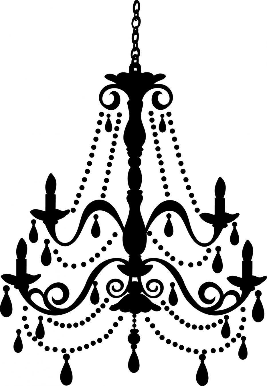 Chandelier Clip Art Free Frame Silhouette Vintage Freechandelier Intended For Clip On Chandeliers (Image 8 of 25)