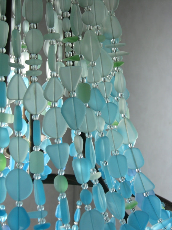 Chandelier From Sea Glass How Pretty Is This Great Lighting Inside Turquoise Glass Chandelier Lighting (Image 17 of 25)