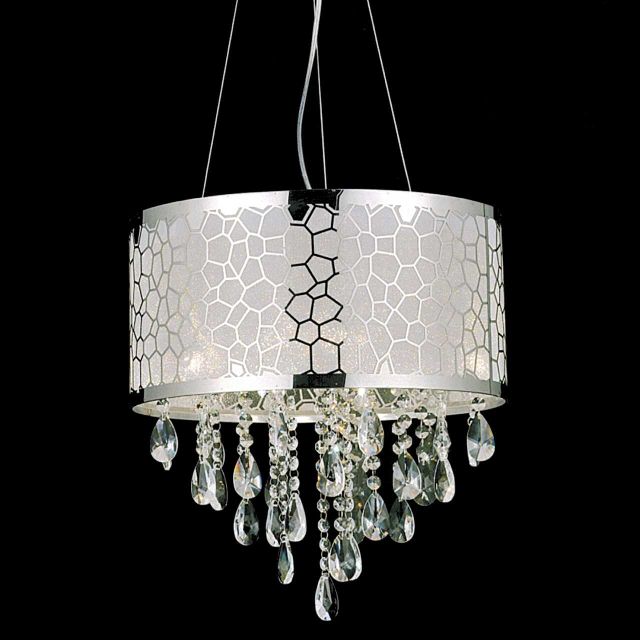 Chandelier Grey Shades Crystal With Drum Shade Gray Using Addition Pertaining To Crystal Chandeliers With Shades (View 7 of 25)