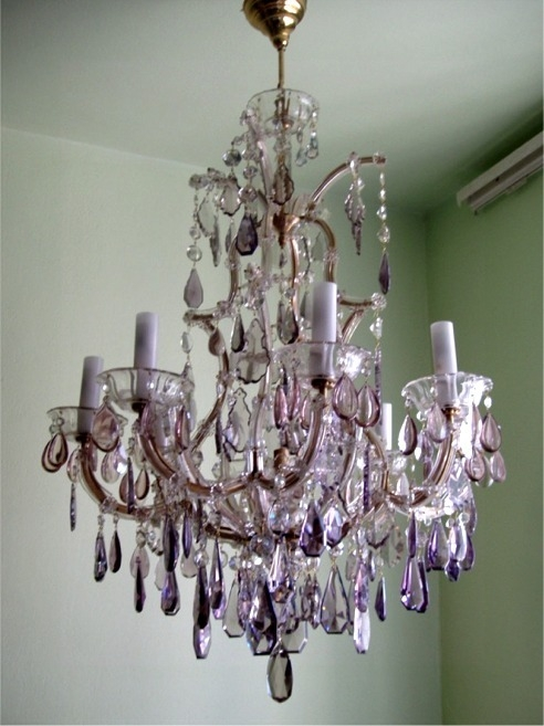 Chandelier Interesting Colored Chandeliers Surprising Colored Throughout Purple Crystal Chandeliers (View 21 of 25)