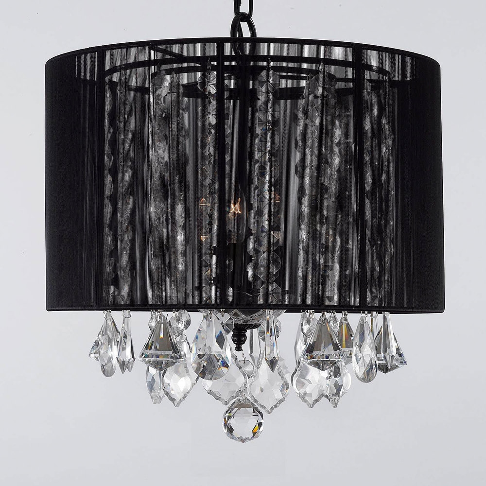 Chandelier Phenomenal Shades Black Picture Ideas Crystal Lamp With For Black Chandeliers With Shades (Image 12 of 25)