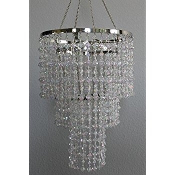 Chandelier Spiral Faux Crystal Beaded Hanging Light Great Idea For Intended For Faux Crystal Chandelier Centerpieces (Image 13 of 25)