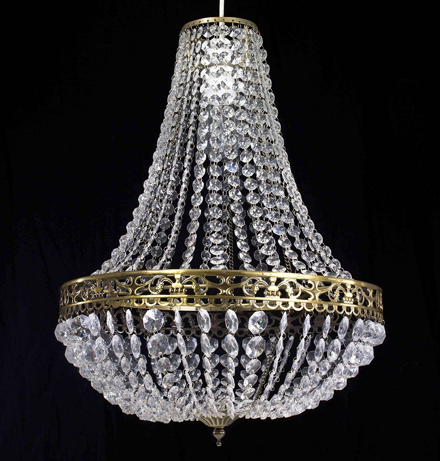 Chandelier Style Clear Acrylic Chrome Ceiling Light Shade Easy Fit Regarding Light Fitting Chandeliers (Image 9 of 25)