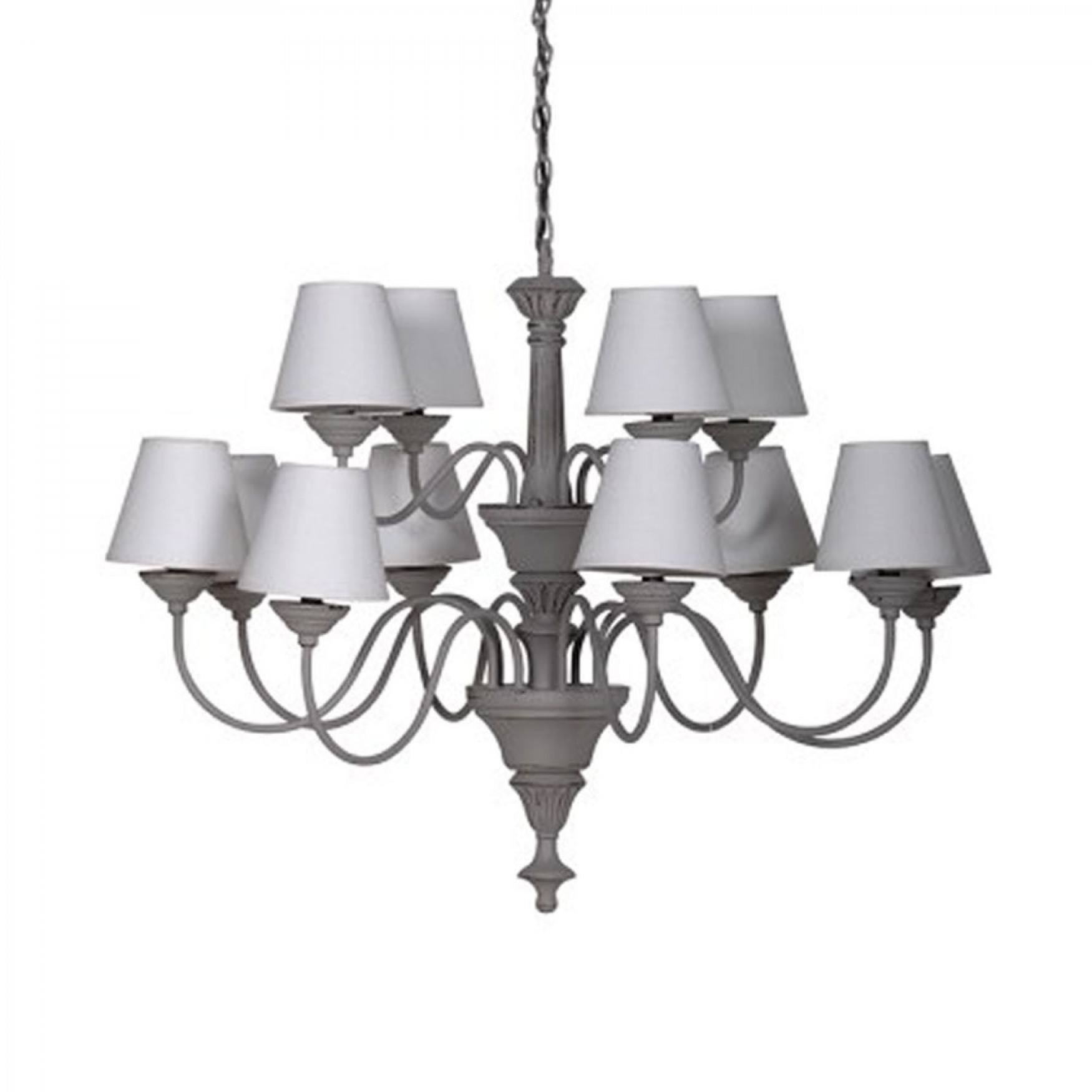 Chandeliers Grey Chandelier With 12 Cream Shades Pertaining To Grey Chandeliers (Image 19 of 25)