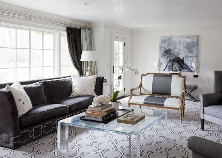 Charcoal Gray Sofas With Black Wood Coffee Table – Transitional In Gray Sofas (Image 14 of 20)