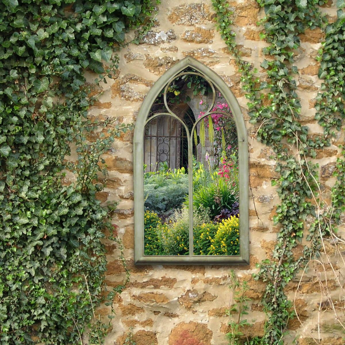 Charles Bentley Chapel Garden Mirror – Buydirect4U With Gothic Garden Mirrors (Image 7 of 20)