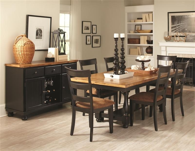 Charlotte 5 Piece Dining Table Set In Rustic Amber/black Two Tone With Regard To Dining Table Sets For  (Image 7 of 20)