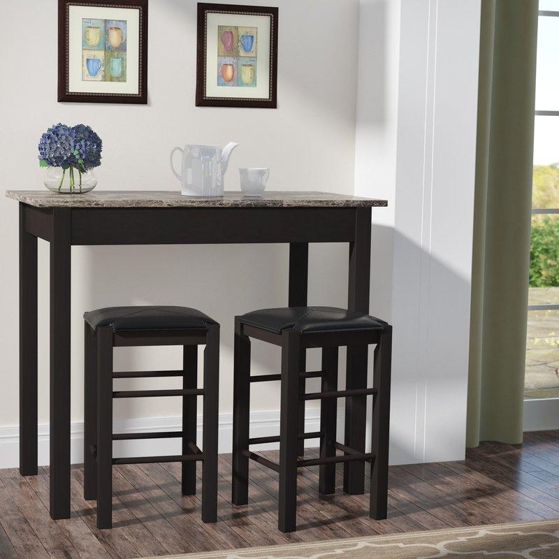 Charlton Home Prosser 3 Piece Counter Height Dining Set & Reviews In Counter Height Sofa Tables (View 17 of 20)