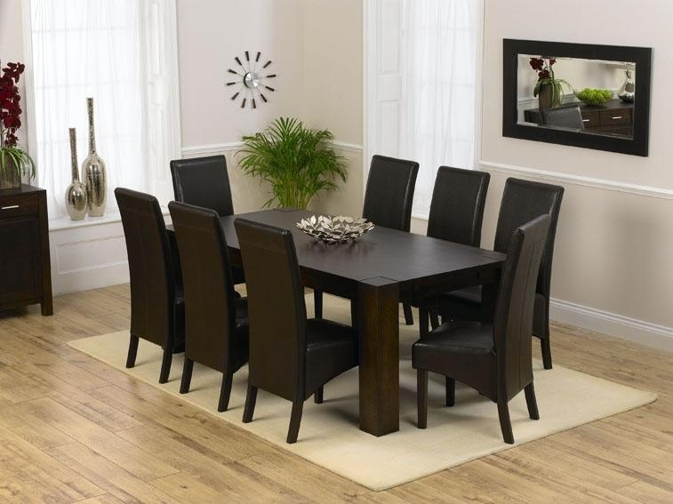 Charming Dining Table 8 Chairs Set 9Pc Cappuccino Wood Counter In 8 Seater Round Dining Table And Chairs (Image 4 of 20)