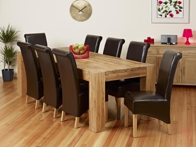Charming Dining Table 8 Chairs Set 9Pc Cappuccino Wood Counter With Regard To Chunky Solid Oak Dining Tables And 6 Chairs (View 12 of 20)