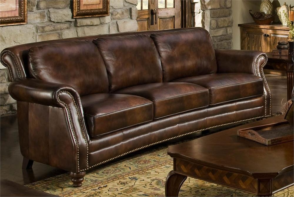 Charming Nailhead Leather Sofa Best Images About Spotlight On Regarding Brown Leather Sofas With Nailhead Trim (Image 6 of 20)
