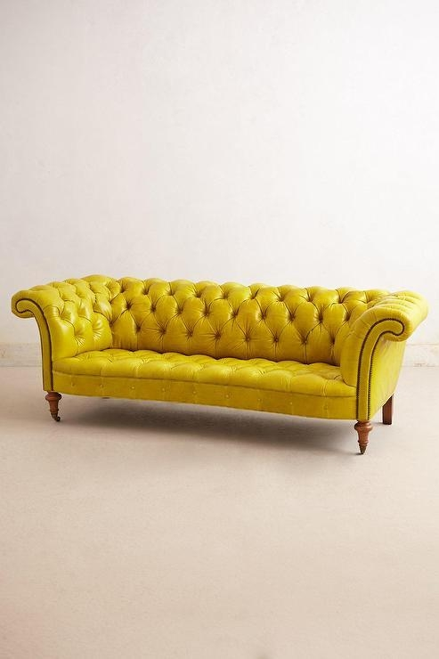 Chartreuse Leather Tufted Sofa – Products, Bookmarks, Design In Chartreuse Sofas (View 14 of 20)