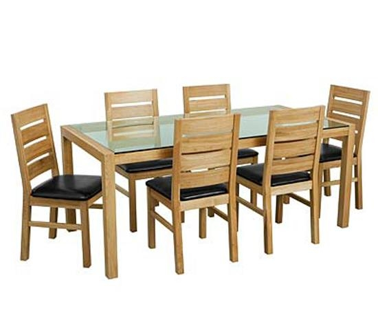 Cheap Glass Table And 6 Chairs Cheap Heartlands Shiro Glass Small In Glass Top Oak Dining Tables (Image 5 of 20)