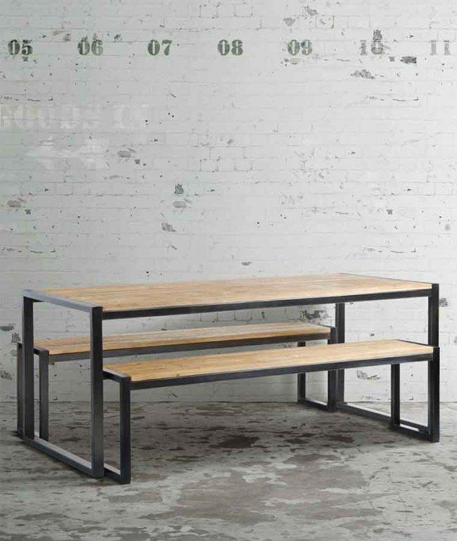 Chenier Industrial Dining Table With 2 Bench – My Furniture For Dining Tables And 2 Benches (Image 7 of 20)