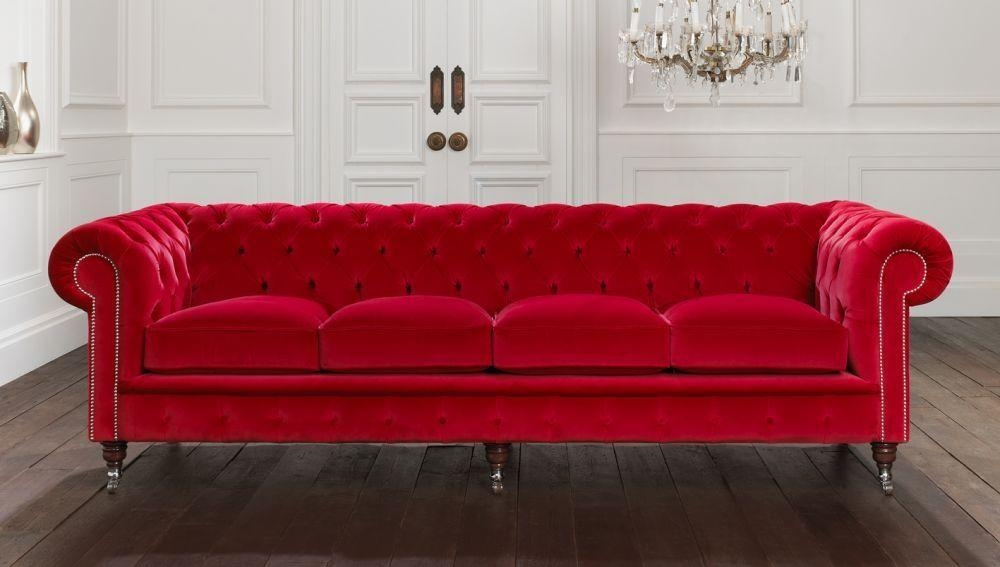 Chesterfield Sofa / Fabric / 3 Seater / Red – Belchamp Within Red Chesterfield Sofas (Image 7 of 20)