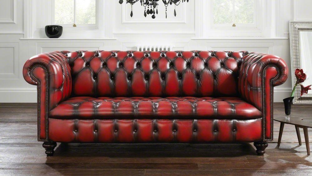 Chesterfield Sofa / Leather / 2 Seater / Red – Kensington For Red Chesterfield Sofas (Image 9 of 20)