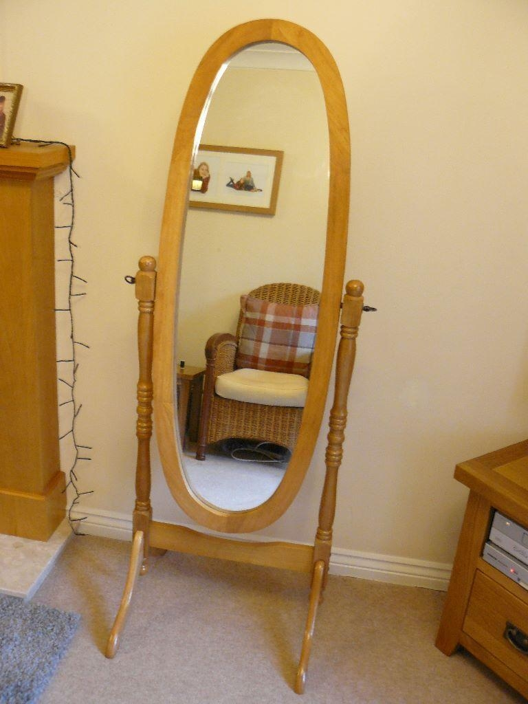 Cheval Mirror In Light Oak (Image 1 of 20)