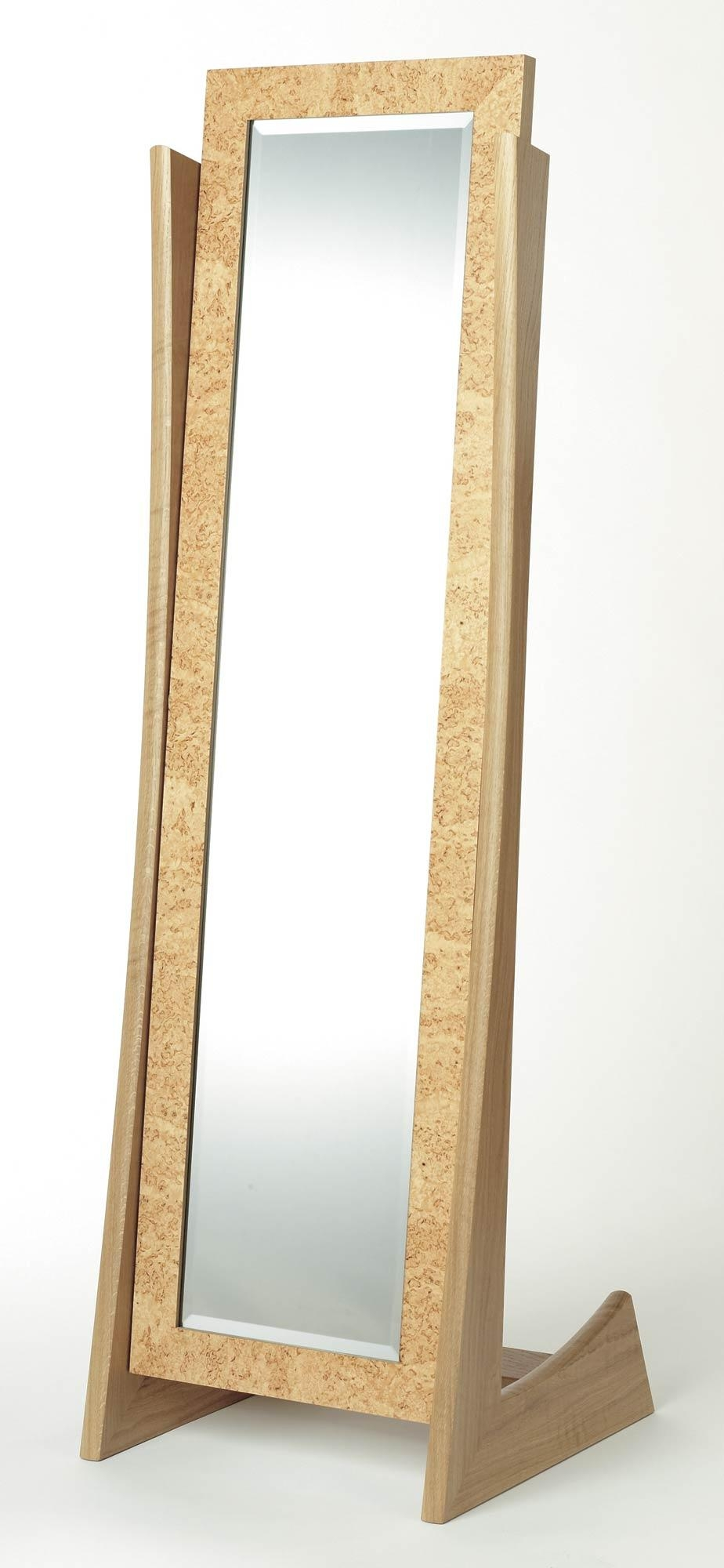 Cheval Mirror In Oak And Masur Birch | Makers' Eye Regarding Free Standing Oak Mirror (Image 2 of 20)