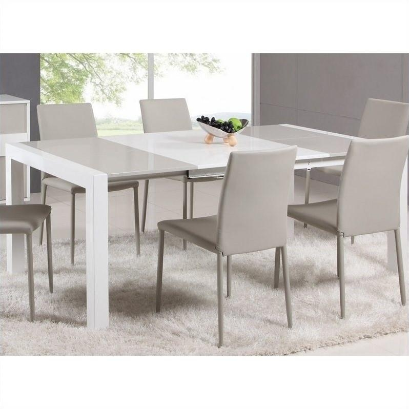 Chintaly Gina Lacquer Parson Extendable Dining Table In White/grey Pertaining To Small Extendable Dining Table Sets (Image 4 of 20)