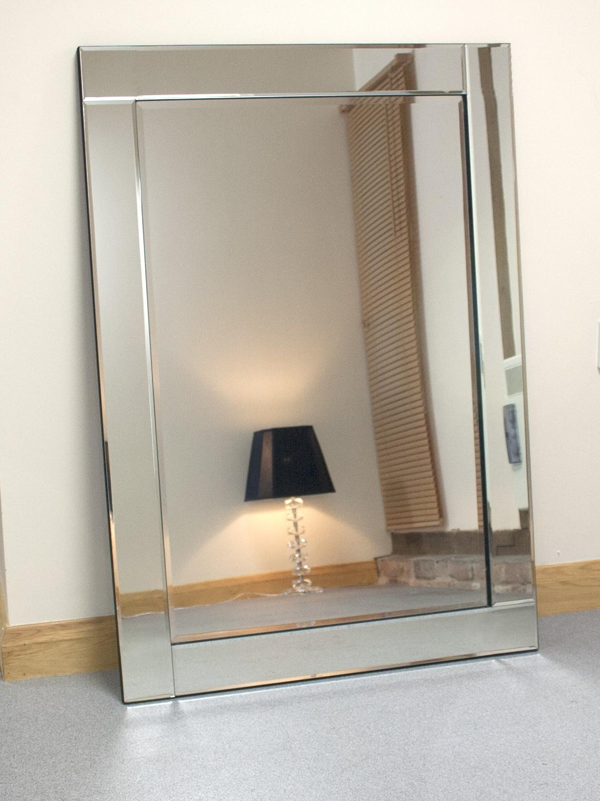 Chloe Large Silver Glass Framed Rectangle Bevelled Wall Mirror 48 With Bevelled Mirror Glass (Image 10 of 20)