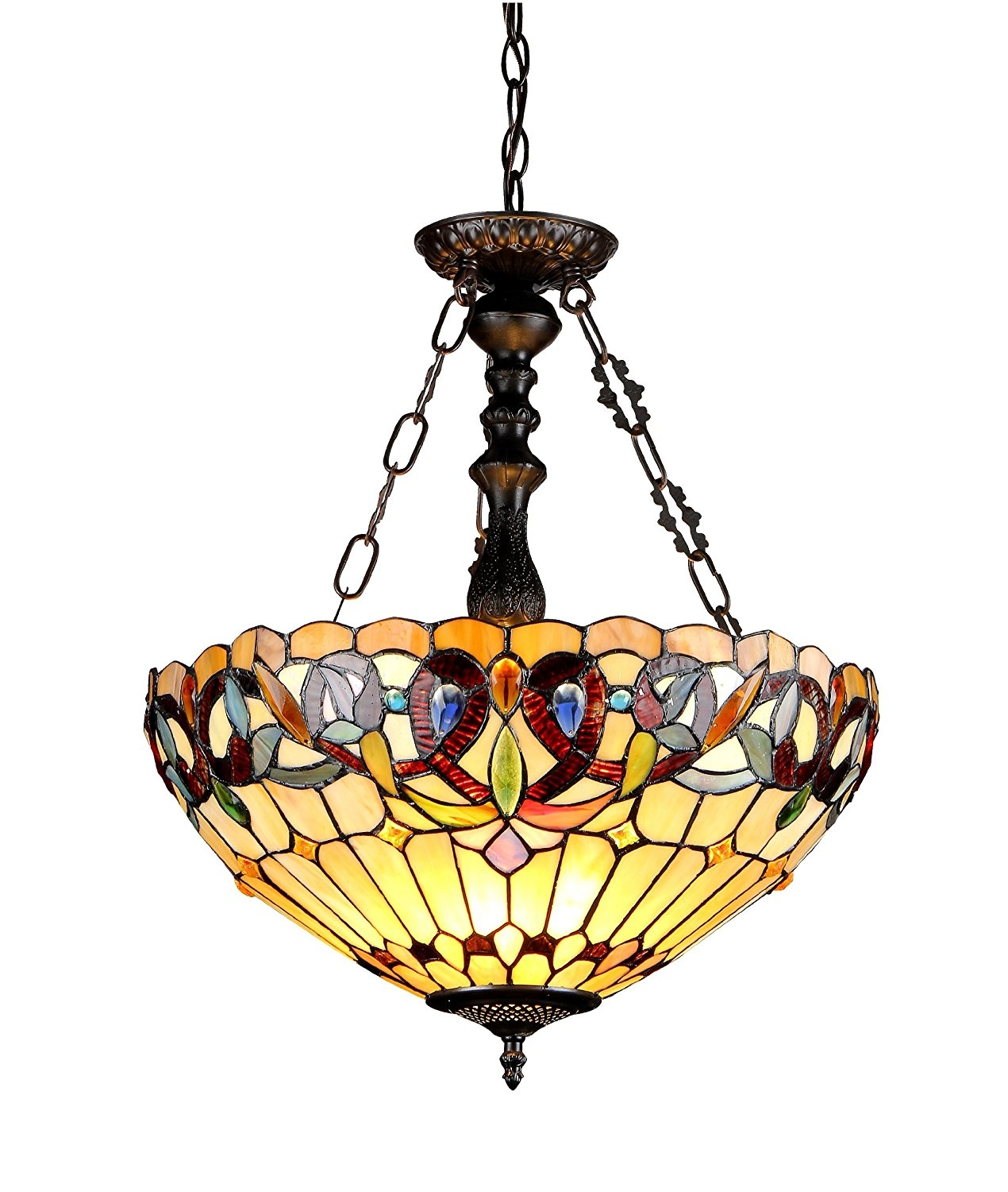 Chloe Lighting Ch33353vr18 Uh3 Serenity Tiffany Style Victorian 3 With Inverted Pendant Chandeliers (Image 8 of 25)