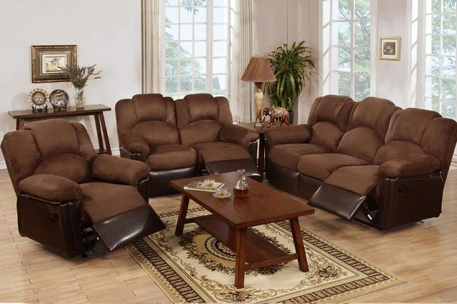 Chocolate Microfiber Leather Reclining Sofa Loveseat Motion Couch Set Inside Reclining Sofas And Loveseats Sets (Image 7 of 20)