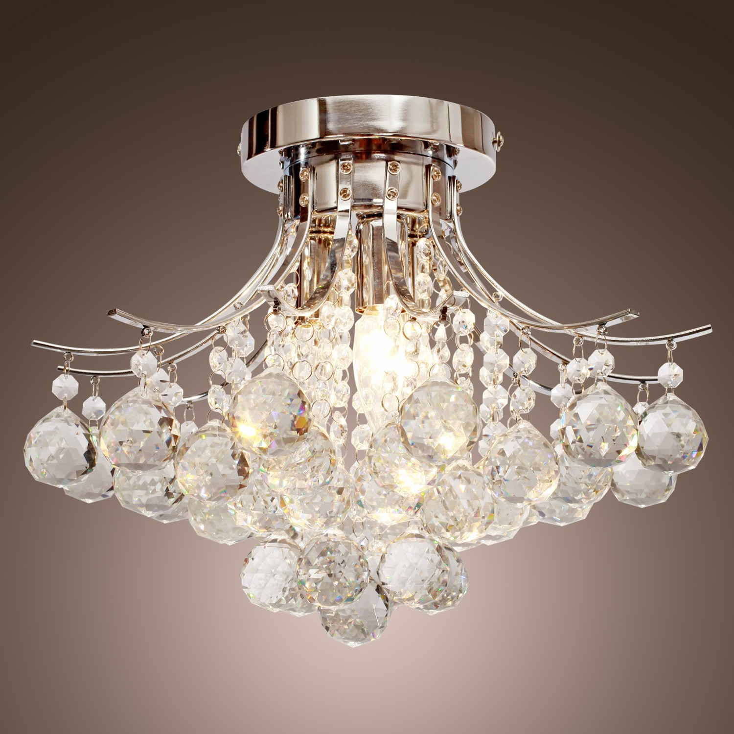 Chrome Finish Crystal Chandelier With 3 Lights Mini Style Flush With Regard To 3 Light Crystal Chandeliers (Image 4 of 25)
