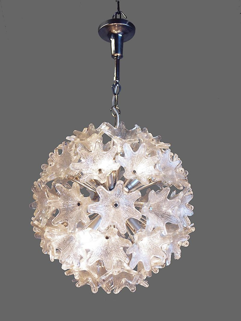 Chrome Glass Flower Sputnik Chandelier Paolo Venini For Veart Within Chrome Sputnik Chandeliers (Image 2 of 25)