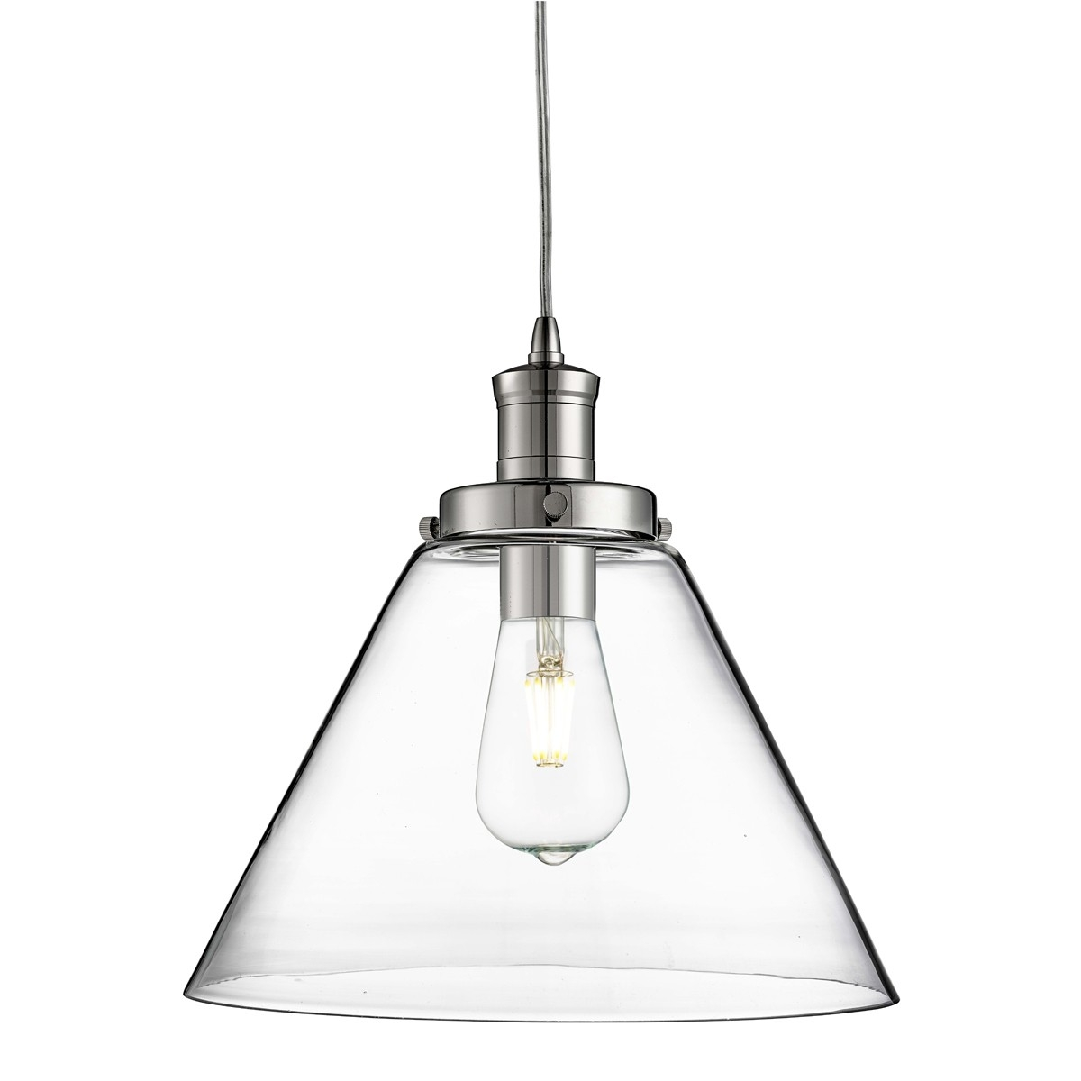 Chrome Pendant Light With Clear Glass Shade With Regard To Chrome And Glass Chandeliers (Image 6 of 25)